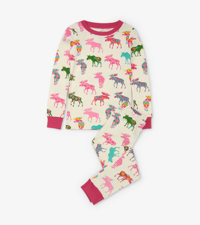 Patterned Moose Kids Pajama Set
