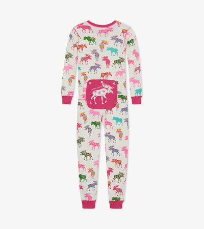 Patterned Moose Kids Union Suit