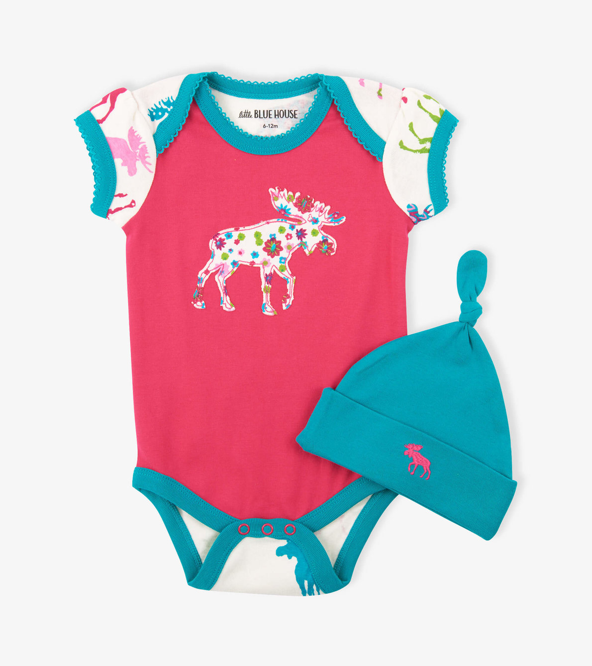 View larger image of Patterned Moose on Red Baby Bodysuit with Hat