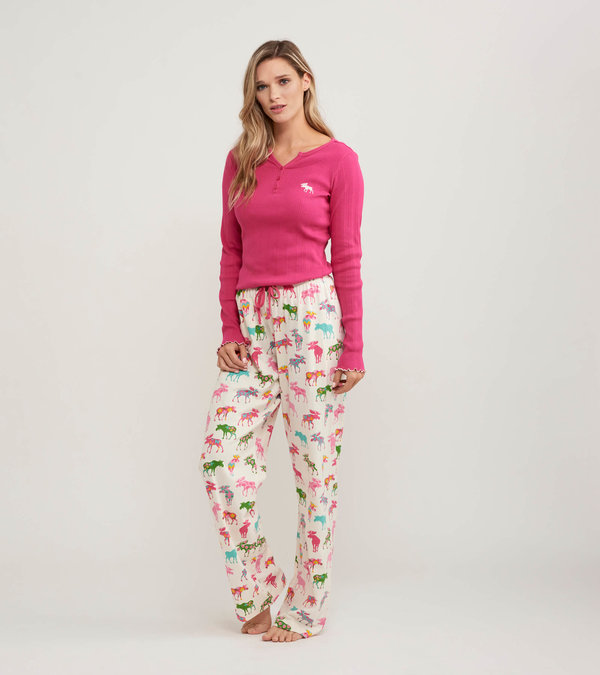 Patterned Moose Women's Tee and Pants Pajama Separates