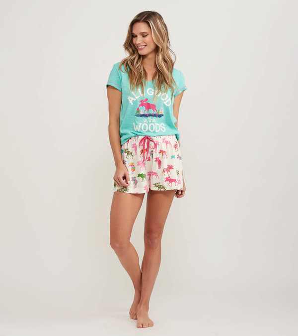 Patterned Moose Women's Tee and Shorts Pajama Separates