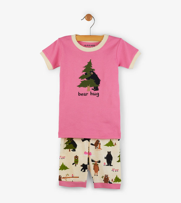 "Pink ""Bear Hug"" Kids Short Pajama Set"