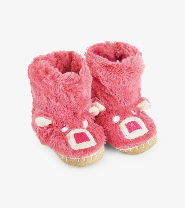 Pink Bear Kids Fuzzy Slouch Slippers