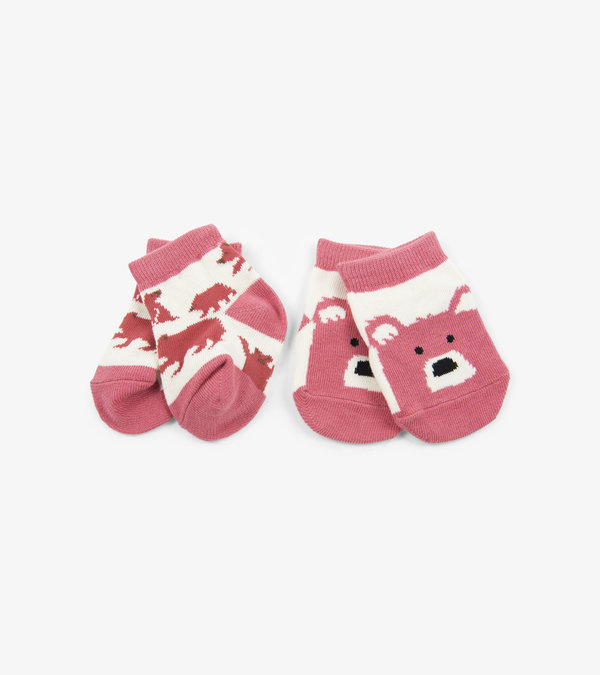 Pink Bears on Natural 2-Pack Baby Socks