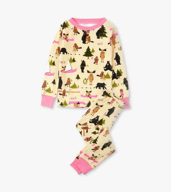 Pink Book Animals Kids Pajama Set