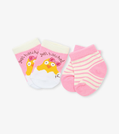 Pink Just Hatched 2-Pack Baby Socks