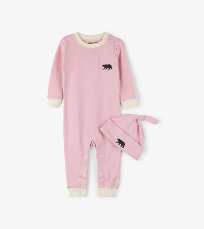 Pink Little Bear Bum Baby Coverall with Hat