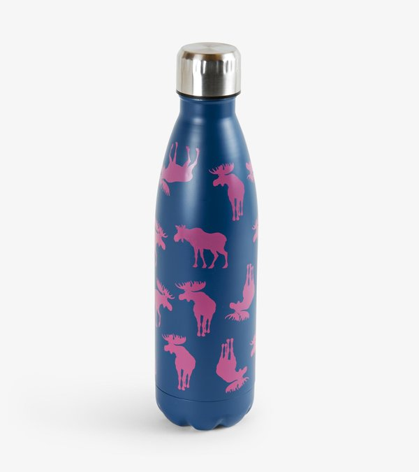Pink Moose on Navy Travel Bottle