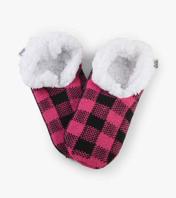 Pink Plaid Women's Warm and Cozy Slippers