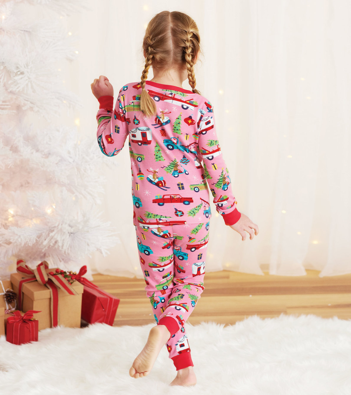 View larger image of Pink Retro Christmas Kids Pajama Set