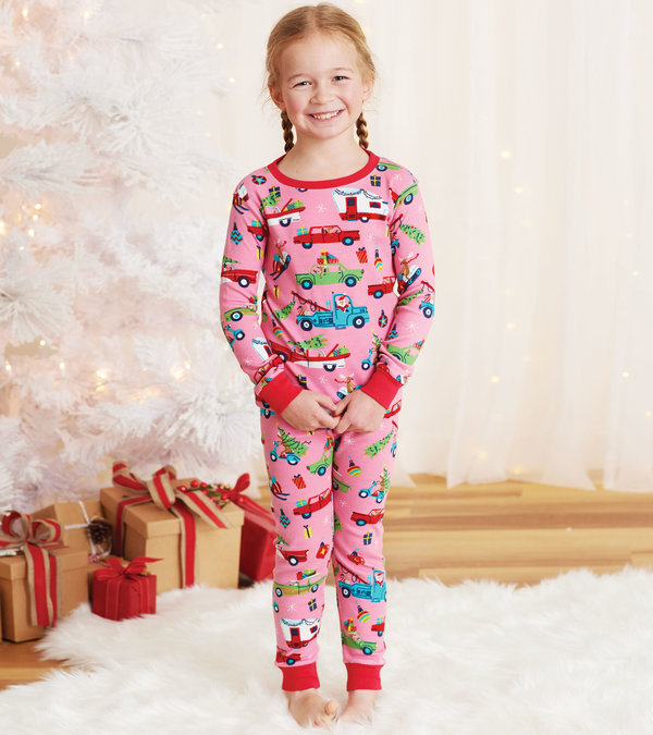Pink Retro Christmas Kids Pajama Set