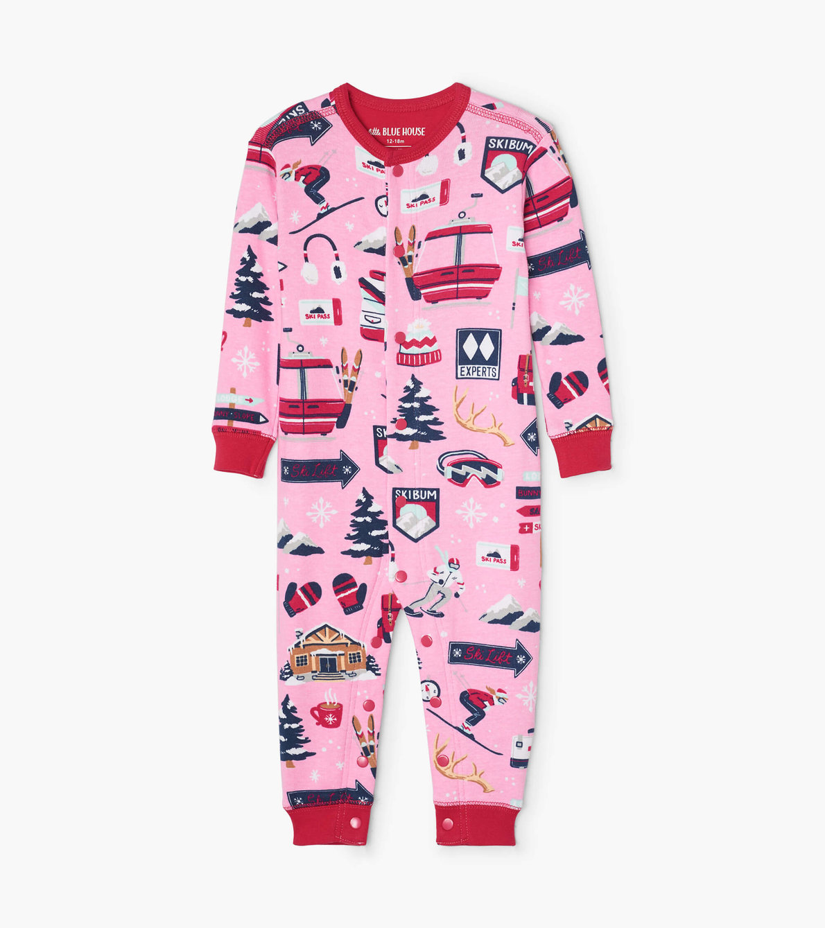View larger image of Pink Ski Holiday Baby Union Suit