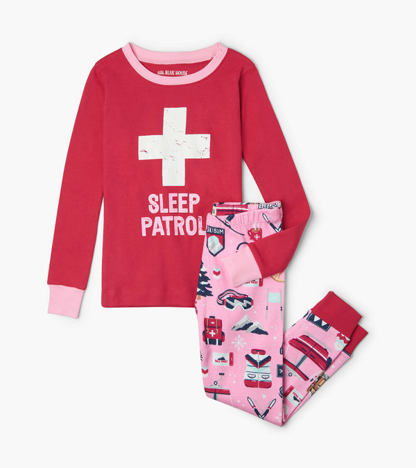 Pink Ski Holiday Kids Appliqué Pajama Set