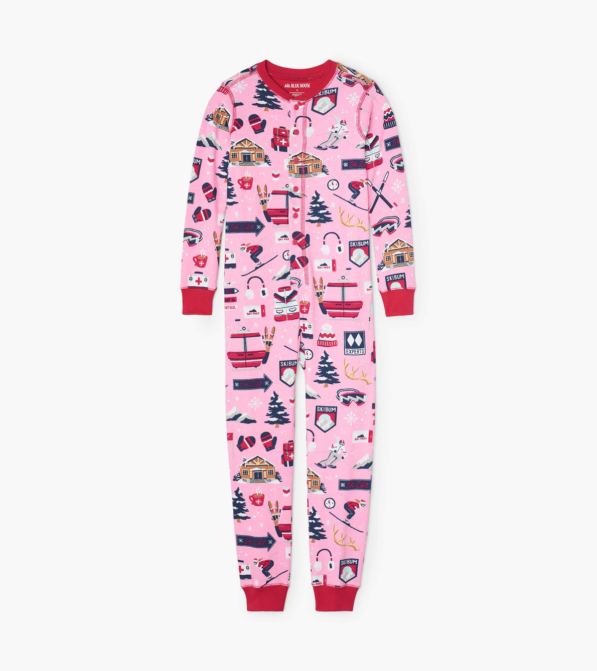 View larger image of Pink Ski Holiday Kids Union Suit