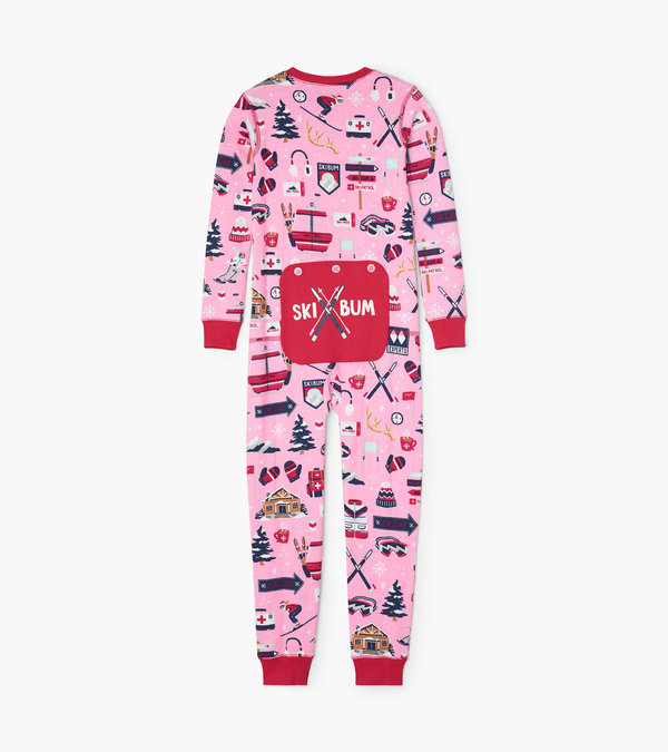 Pink Ski Holiday Kids Union Suit