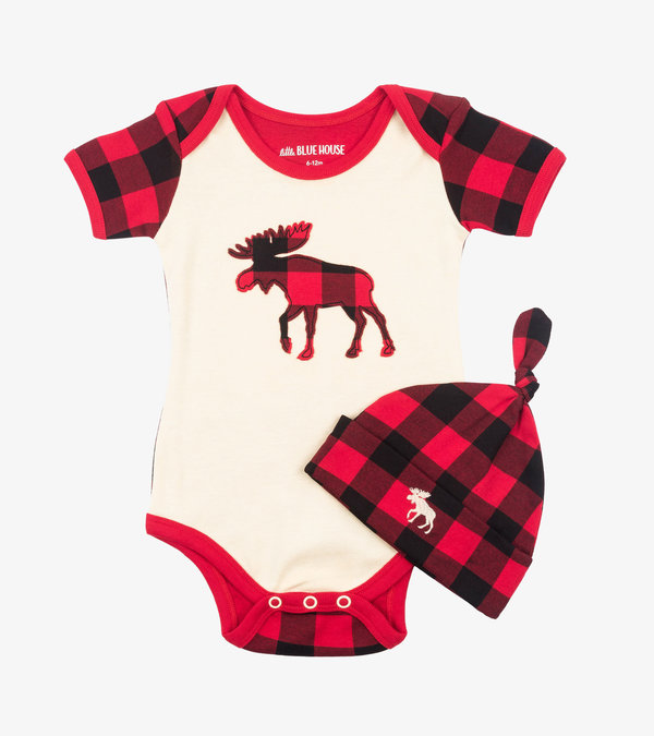 Plaid Moose Baby Bodysuit with Hat