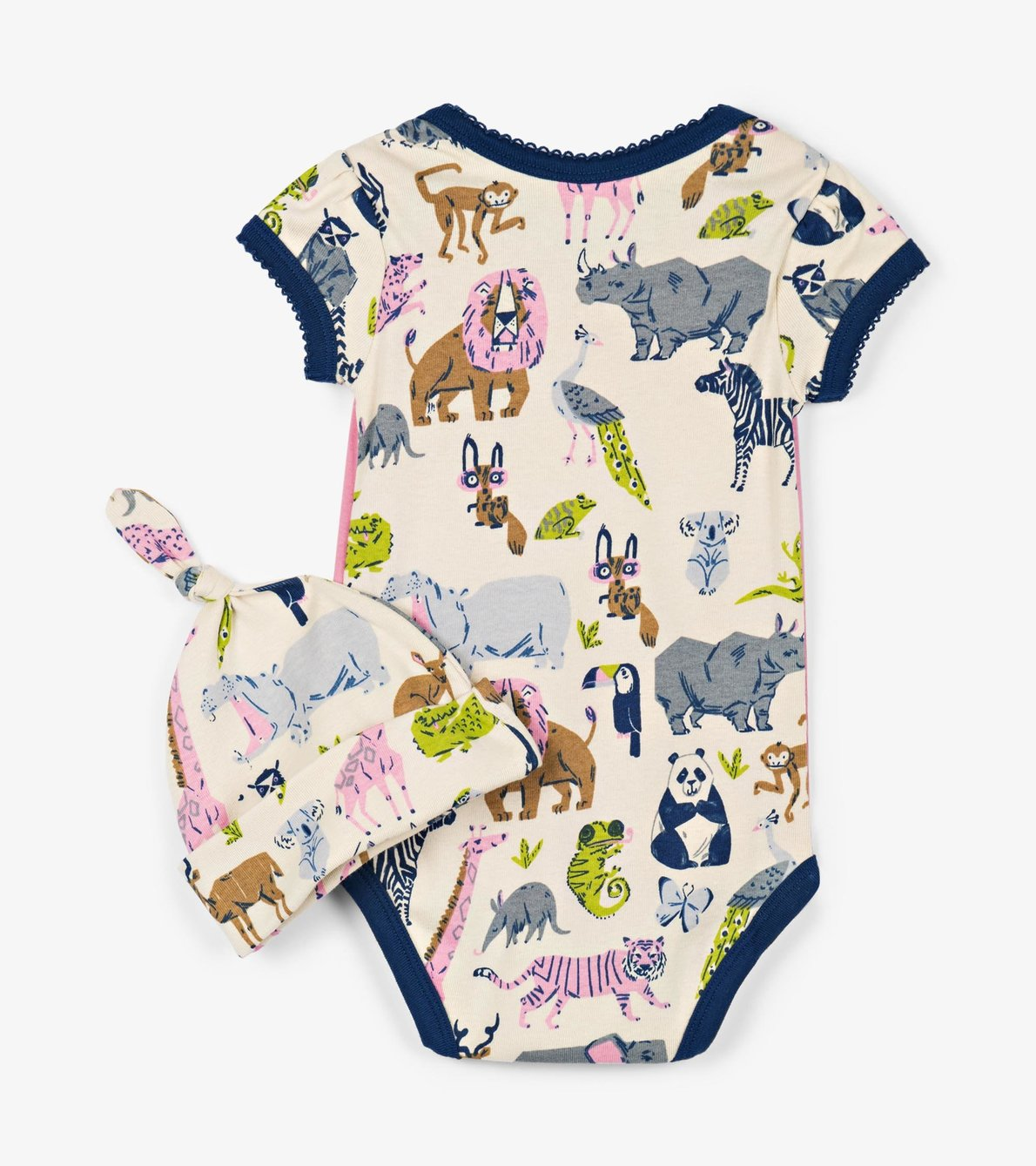View larger image of Pretty Animal Safari Baby Bodysuit with Hat