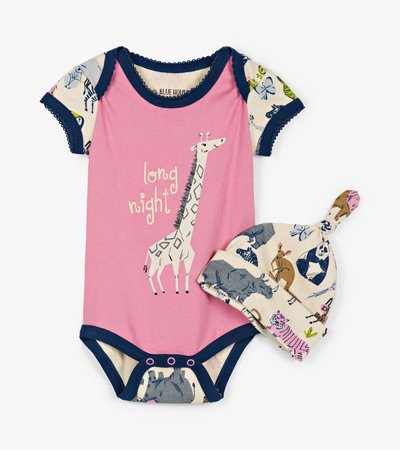 Pretty Animal Safari Baby Bodysuit with Hat