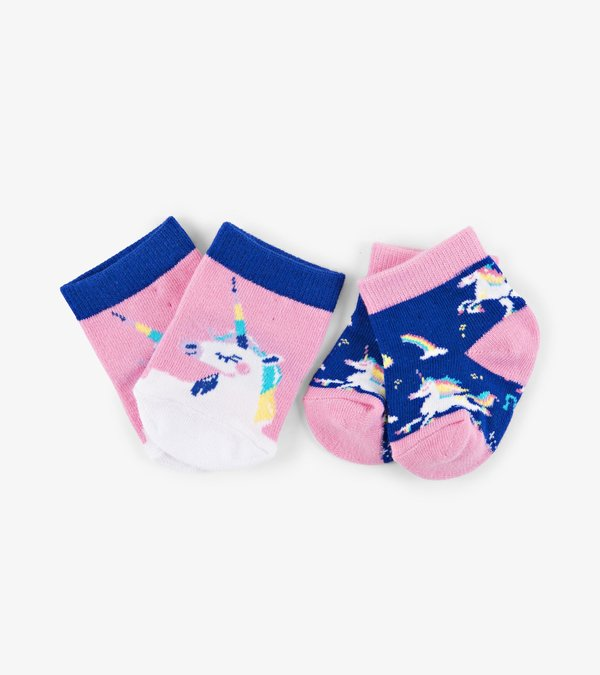 Rainbow Unicorns 2-Pack Baby Socks