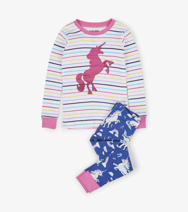 Rainbow Unicorns Kids Appliqué Pajama Set
