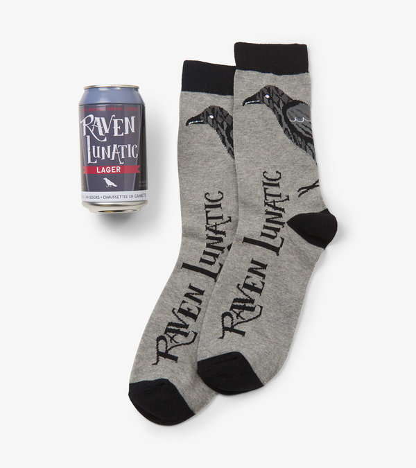 Raven Lunatic Men's Beer Can Socks