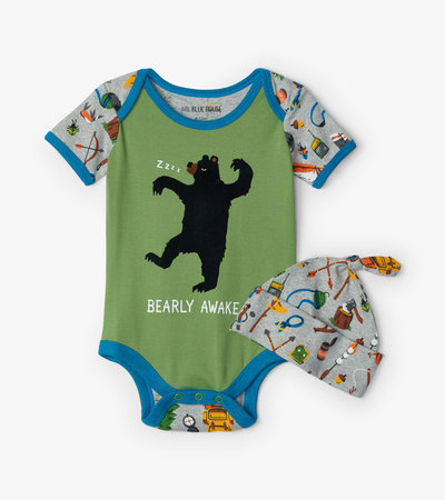 Retro Camping Baby Bodysuit with Hat