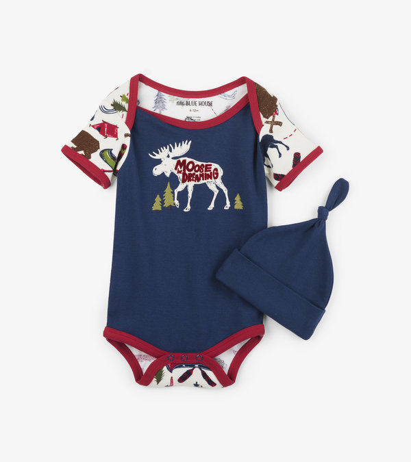 Sketch Country Baby Bodysuit with Hat