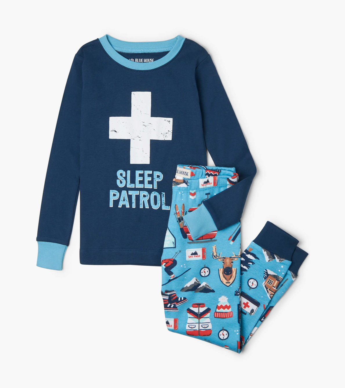 View larger image of Ski Holiday Kids Appliqué Pajama Set