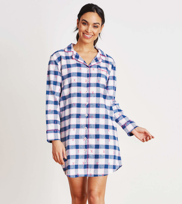 Ski Holiday Plaid Women's Flannel Nightdress