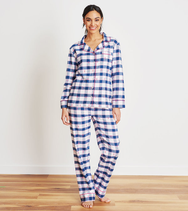 Ski Holiday Plaid Women's Flannel Pajama Set