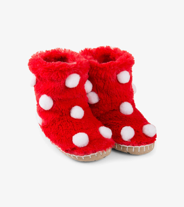 Snow Balls Fuzzy Slouch Slippers