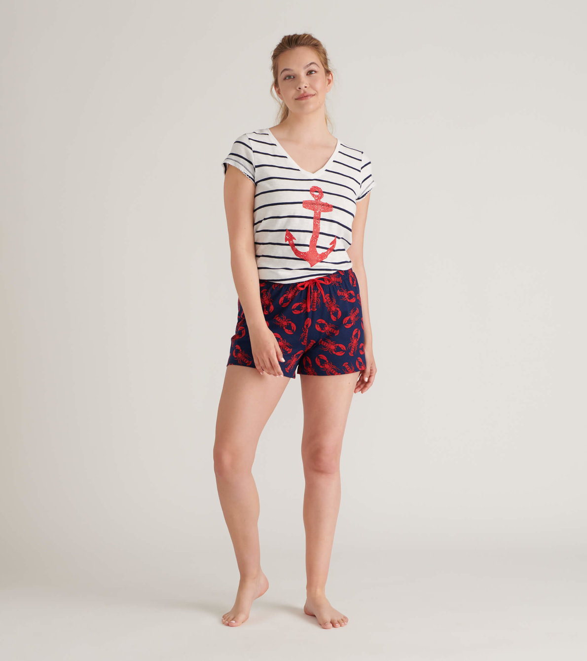 View larger image of Striped Anchor Women's V-Neck Tee