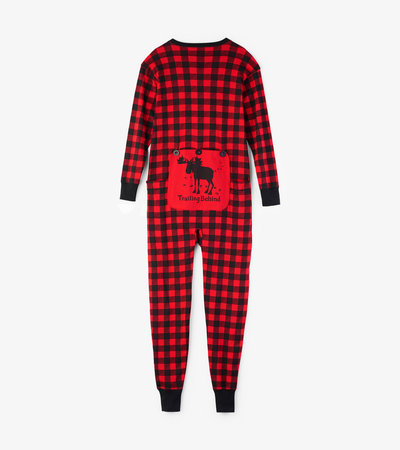 """Trailing Behind"" Buffalo Plaid Adult Union Suit"
