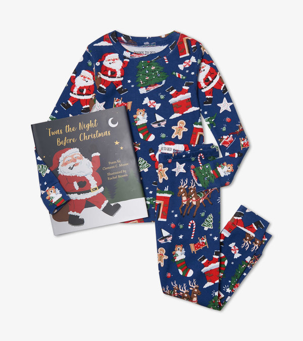 Twas the Night Before Christmas Blue Book and Pajama Set