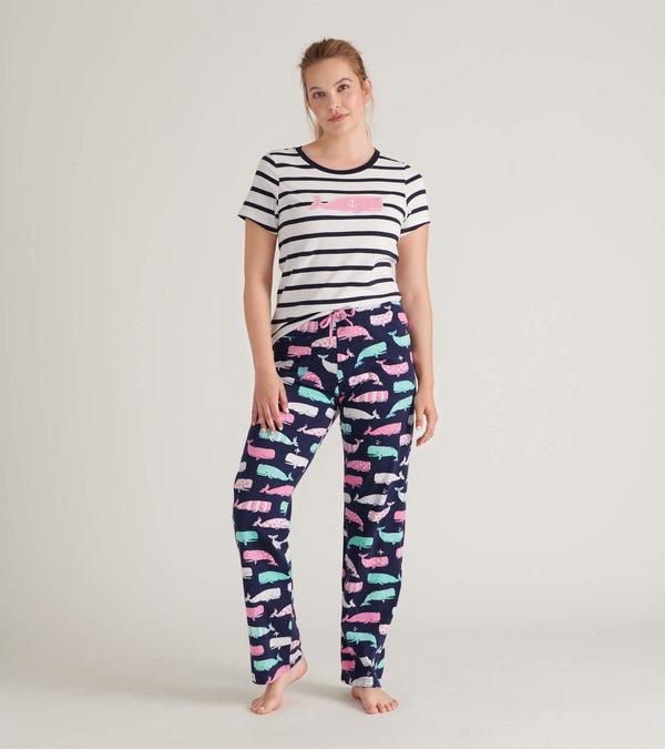 Whales Women's Tee and Pants Pajama Separates