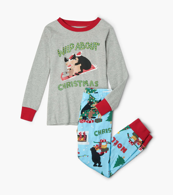 Wild About Christmas Kids Appliqué Pajama Set