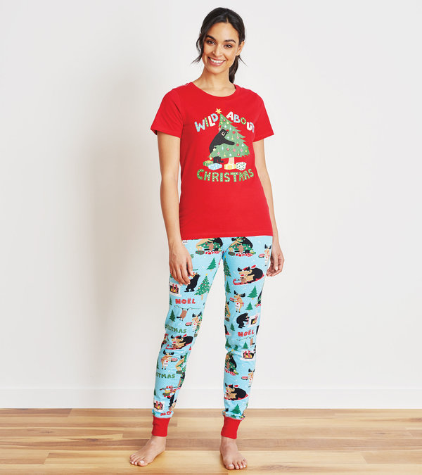 Wild About Christmas Women's Tee and Leggings Pajama Set
