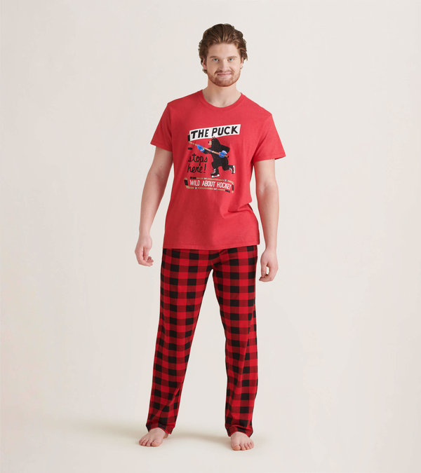 Wild About Hockey Men's Tee and Pants Pajama Separates