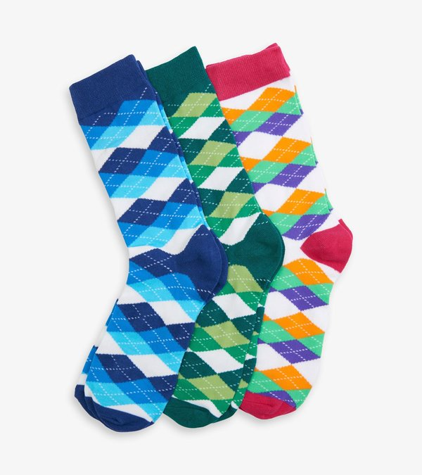 Wild Argyle Men's Crew Sock Set
