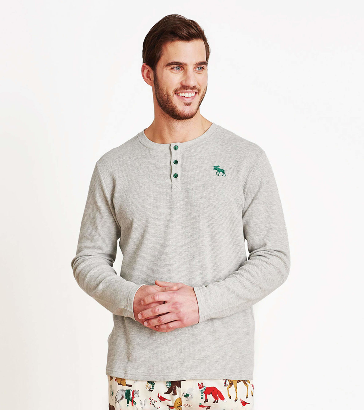 View larger image of Winter Grey Men's Waffle Henley