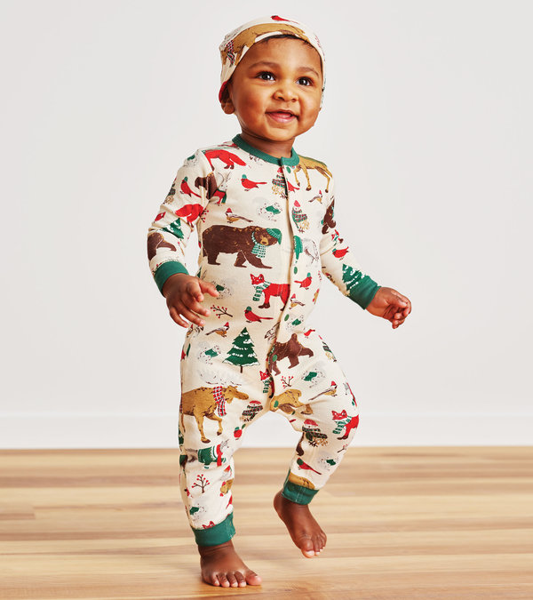 Woodland Winter Baby Coverall with Hat